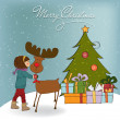 Stock Photo: Christmas card with cute little girl caress a reindeer Vector illustration
