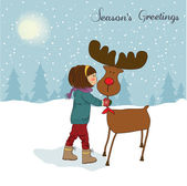 Christmas card with cute little girl caress a reindeer Vector illustration — Stock Photo