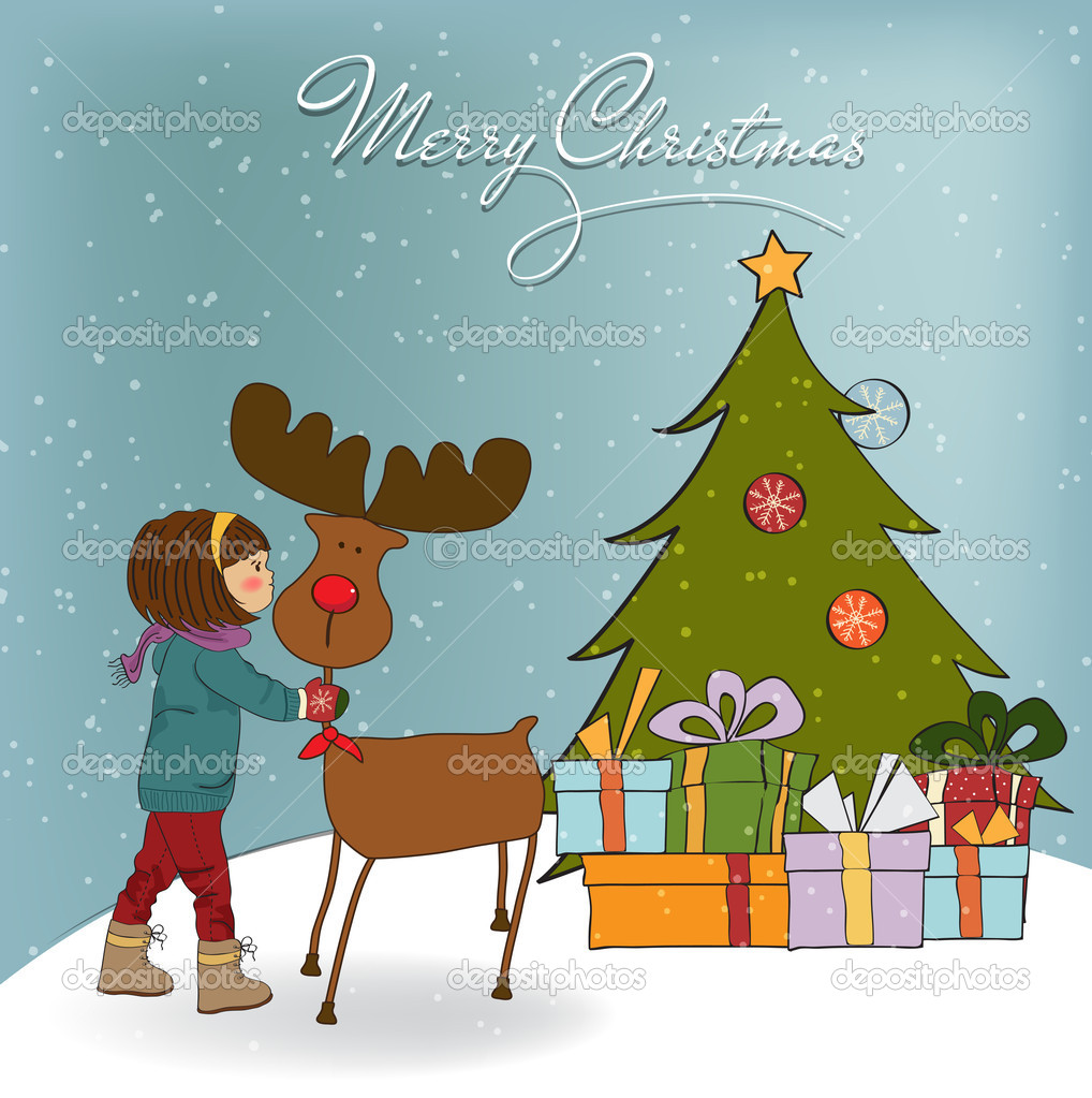 Christmas card with cute little girl caress a reindeer  Vector illustration — Photo #14560167