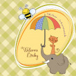 Stock Photo: Baby shower card with funny elephant and little cat under umbrella