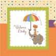 Baby shower card with funny elephant and little cat under umbrella — Stock Photo