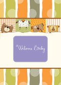 Baby shower card with funny cube animals — Stock Photo