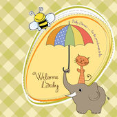 Baby shower card with funny elephant and little cat under umbrella — Photo