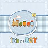 Baby душ карты с игрушечный поезд — Стоковое фото