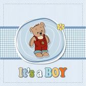 Baby boy dusch kort med roliga nallebjörn — Stockfoto