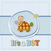Tarjeta de anuncio simpático bebé niño — Foto de Stock