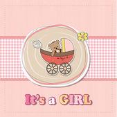 забавный мишка в коляске, ребенок объявление карта — Стоковое фото