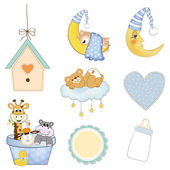 Baby boy items set in vector format isolated on white background — Stock Photo