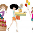 Set of three young girls at birthday party isolated on white bac — Stock Photo #16991665