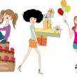Set of three young girls at birthday party isolated on white bac — Stock Photo