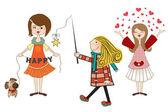 孤立在白色背景上的三个快乐年轻女孩的一套 — 图库照片