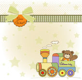 Baby shower card with teddy bear and train toy — Stock Photo