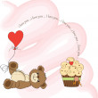 Cute love card with teddy bear — Stock Photo