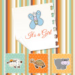 Stock Photo: New baby girl shower invitation