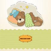 Ayıcık uyku ile bebek duş kartı — Stok fotoğraf