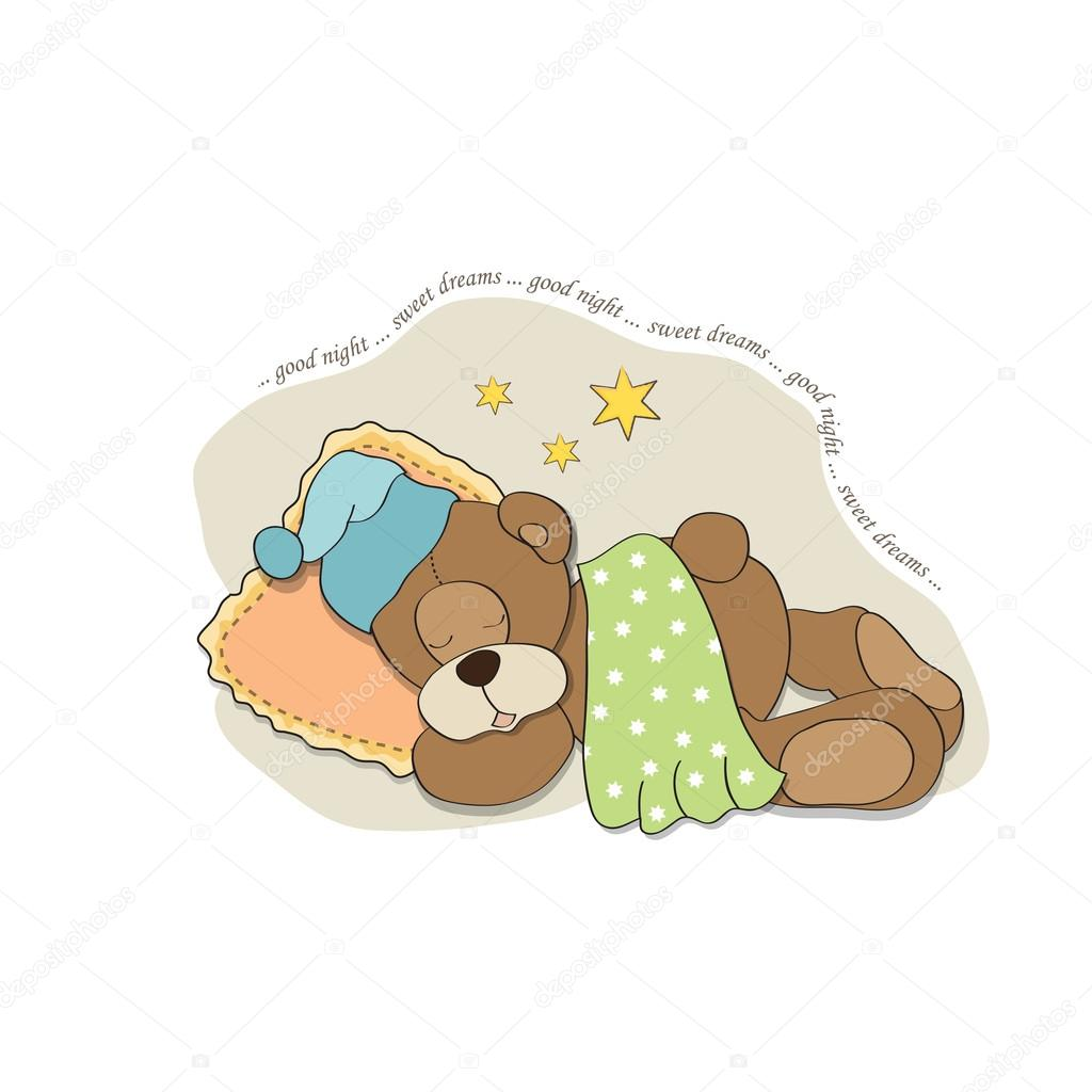 Cute Teddy Bear sleeps on pillow, vector illustration — Stock Photo #19310569