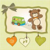 Baby shower card with cute teddy bear — Stock Photo