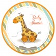 Baby shower card with cute giraffe — Stock Photo #19541023
