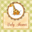 Stock Photo: Baby shower card with cute giraffe