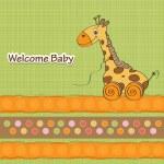 Baby shower card with cute giraffe — Stock Photo