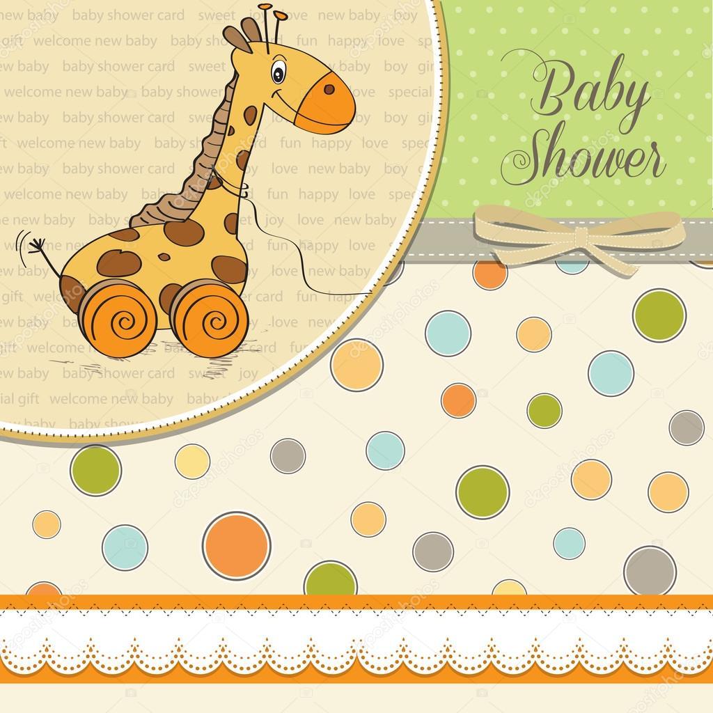 与可爱的长颈鹿宝宝女孩洗澡卡