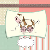 Childish card with cute cow toy — Stock Photo