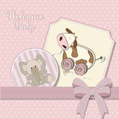 Baby shower card with cute cow toy — Stock Photo