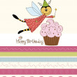 Childish birthday card with funny dressed bee — Stock Photo #20276125