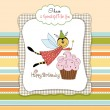 Childish birthday card with funny dressed bee — Stock Photo #20276129