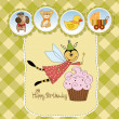 Childish birthday card with funny dressed bee — Stock Photo