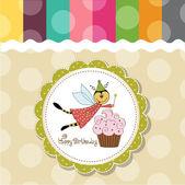 Karta urodzinowa dziecinne z pszczołą wystrojony zabawny — Zdjęcie stockowe