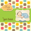 Baby boy shower card with little baby - Stock Photo