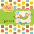 Little boy sleeping in a pea been, baby shower card — Stock Photo