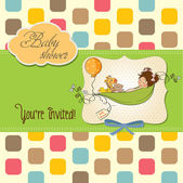 Little girl siting in a pea been. baby announcement card — Stock Photo