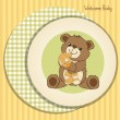 Baby shower card with teddy bear and his toy — Stock Photo #21030289