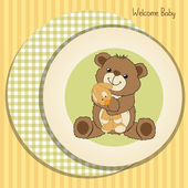 Baby shower card with teddy bear and his toy — Stock Photo