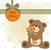 Birthaday greeting card with teddy bear and his toy — Stock Photo