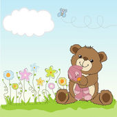 Childish greeting card with teddy bear and his toy — 图库照片