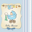 Baby boy announcement card with baby and pram — Stock Photo #21437317