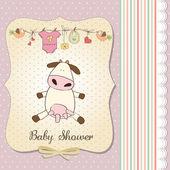 Nuova scheda di annuncio ragazza bambino con mucca — Foto Stock