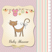 New baby shower card with cat — Photo