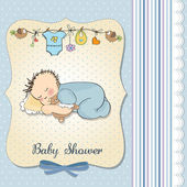 Baby shower card with little baby boy sleep with his teddy bear — Stock Photo