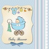 Faire-part de bébé garçon avec bébé et poussette — Photo