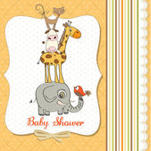 Baby shower card with funny pyramid of animals — ストック写真