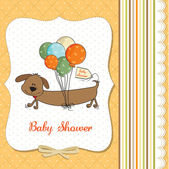 Baby shower card with long dog and balloons — Stock Photo