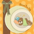 Baby shower card with sleeping teddy bear — Stock Photo
