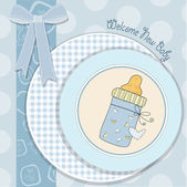 Baby shower card with bottle milk — Stock Photo
