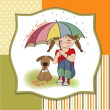 Young pretty girl and her dog, friendship card — Stock Photo #21810289
