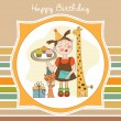Happy Birthday card with funny girl, animals and cupcakes — Stock Photo #21898637