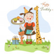 Happy Birthday card with funny girl, animals and cupcakes — Stock Photo #21898709